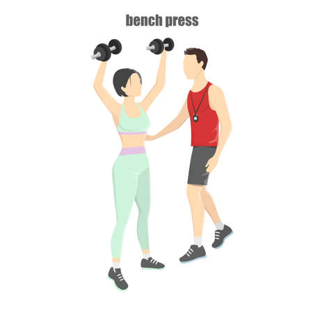 Woman doing exercise with dumbbells Vetores