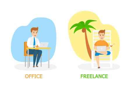 Freelance vs. office work concept. Man sitting on the chaise lounge under the palm tree and working remotely. Young handsome businessman working in office. Isolated flat vector illustration