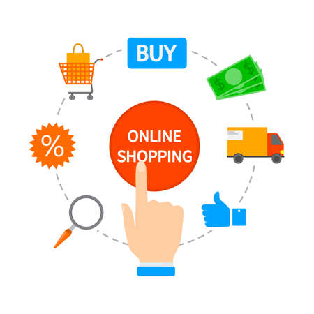 Online shopping concept. Buying goods and making payments online on the web sites using devices. Modern technology, internet and e-commerce. Isolated flat vector illustration Illustration