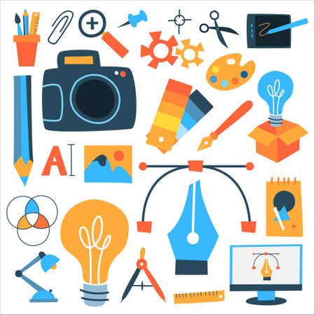 Design icon set. Beautiful stickerpack with pallette, camera, pencil, scissors and others. Equipment for graphic design. Abstract flat vector illustration
