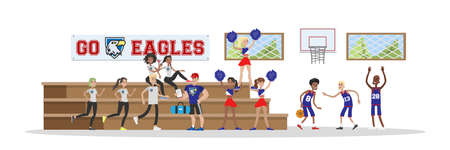 University or college gym hall with students. Cheerleaders and basketball players. Sport trainer. Isolated vector flat illustration