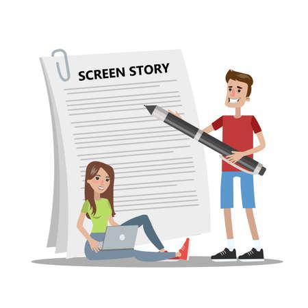People writing scenario for video blog. Creating script. Isolated vector illustration set. Foto de archivo - 104949897