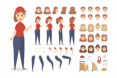 Beautiful female courier character set for animation with various views, hairstyles, emotions, poses and gestures. Different equipment such as bag, boxes and clipboard. Isolated vector illustration Ilustração