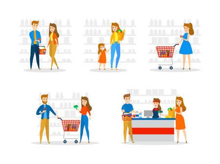 Set of people in supermarket with carts byuing fruits, vegetables and other food. Family in the grocery store. Isolated flat vector illustration
