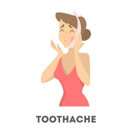 Sad woman suffering from a strong toothache. Patient touching her cheeck and feel the pain. Isolated vector illustration in cartoon style