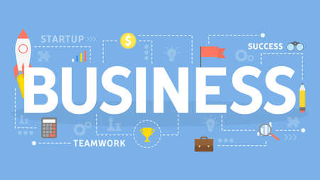 Business concept illustration. Strategy, teamwork, marketing and finance. Idea of progress and business growth. Illusztráció