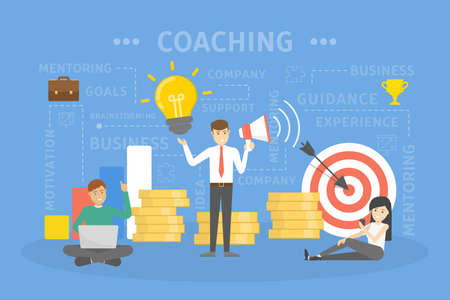 Coaching concept illustration. Guidance, education, motivation and improvement. Idea of support and business training.