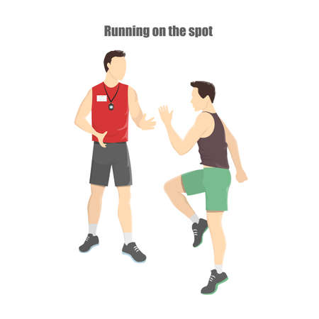 Joven atlético corriendo sobre el terreno. Ilustración de vector