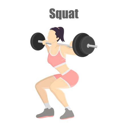 Woman making squats with barbell Ilustração