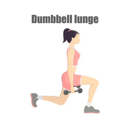 Woman making lunges with dumbbells Illustration