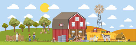 Summer landscape with farm. Farmers working on the field, watering plants and feeding animals. Domestic animals such as cow and pig walking around the house. Living in the village Stock Illustratie