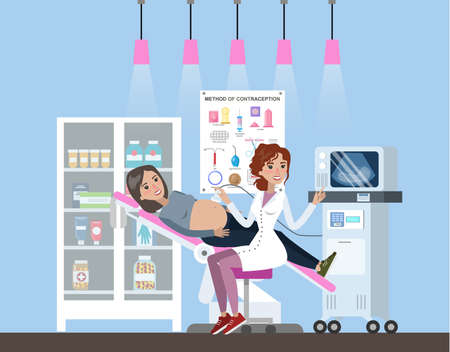 Pregnant woman visiting female doctor in hospital. Patient is examined by professional. Checking belly by ultrasound. Method of contraception poster on the wall. Flat vector illustration Ilustracja