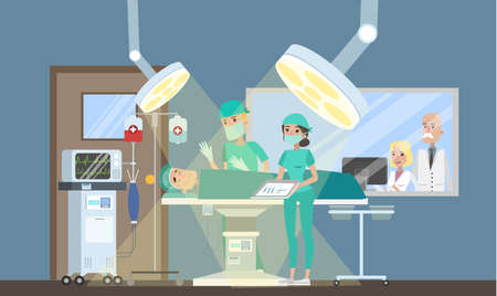 Surgery room in the hospital. Surgeon making operation to the patient lying on the bed and nurse helps him. Emergency medical treatment. Isolated vector flat illustration Vector Illustration