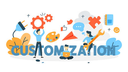 Customization concept. Change settings and preferences in app to suit a particular task. Idea of modern technology, responsive web design and innovation. Flat vector illustration