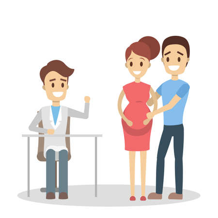 Pregnant woman and her husband visiting doctor in a hospital. Couple listening to the male doctor. Consultation with specialist. Isolated flat vector illustration Vectores