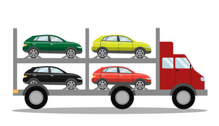 Red tow truck with cars