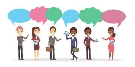 Group of people talk to each other Stock Photo