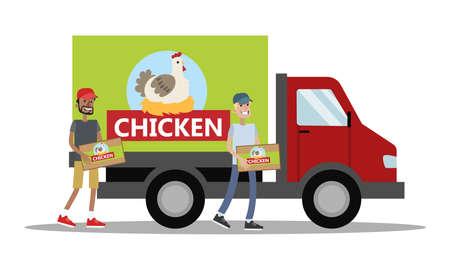 Big truck with chicken meat Stock fotó