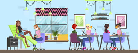 Manicure and pedicure salon interior. Woman sitting in the chairs and making professional manicure. Nail polish and painting. Beauty procedures. Vector flat illustration Foto de archivo - 114858587