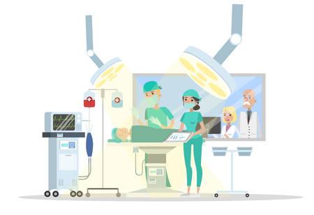 Sala de cirugía en el hospital. Cirujano que opera al niño acostado en la cama y la enfermera lo ayuda. Tratamiento médico de emergencia. Ilustración plana vector aislado Ilustración de vector