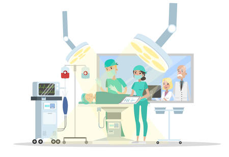 Surgery room in the hospital. Surgeon making operation to the child lying on the bed and nurse helps him. Emergency medical treatment. Isolated vector flat illustration