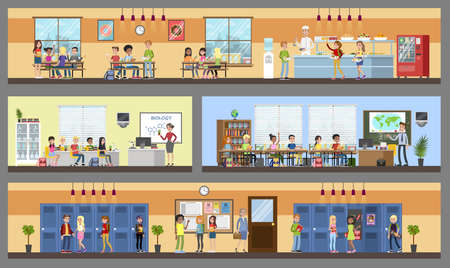 School building interior and exterior. Classrooms, dining room and hall. Getting education and knowledge. Vector flat illustration