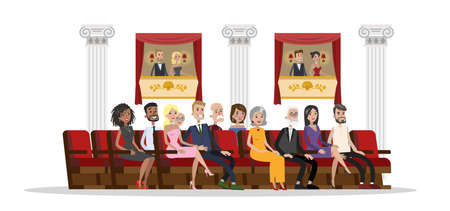 People sit in the theater and watch performance show. Spectators on the theater balcony. Beautful ladies and gentlemen in formal clothes. Isolated vector flat illustration