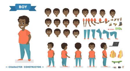 Süße afroamerikanische Jungenfigur in orangefarbenem T-Shirt und blauer Hose für Animationen mit verschiedenen Ansichten, Frisuren, Gesichtsgefühlen, Posen und Gesten. Isolierte Vektorillustration im Cartoon-Stil