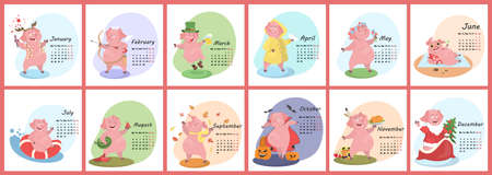 Pig calendar for 2019. Cute month calendar with funny pig. Week starts on monday. Vector illustration in cartoon style.
