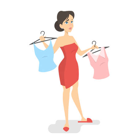 Beautiful young woman choosing clothes. Beauty and fashion. Difficult choice. Isolated vector illustration