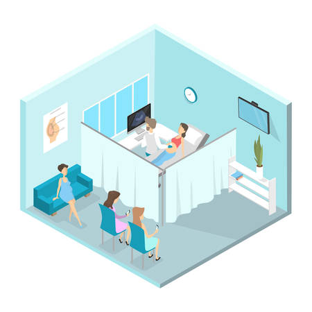 Pregnant women visiting doctor. Woman is examined by professional. Checking belly by ultrasound. Patients waiting in line. Gynecology hospital interior. Isolated isometric vector illustration