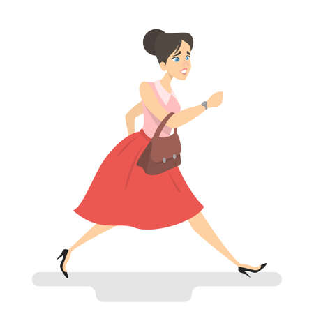 Beautiul woman in a hurry. Young female character is late for work. Girl in red skirt and pink blouse with brown bag looking at watches and running. Isolated vector illustration in cartoon style