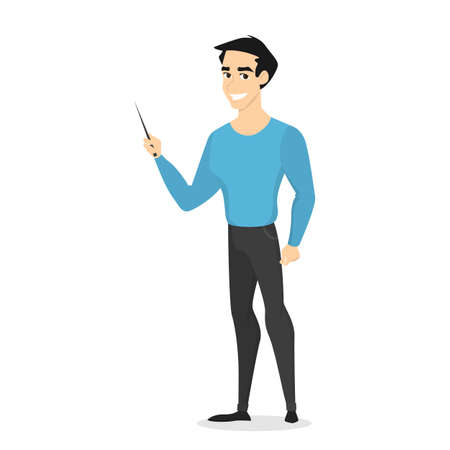 Feliz hombre de negocios o profesor con puntero negro en la mano. Hombre haciendo presentación y señalando y algo. Ilustración de vector aislado en estilo de dibujos animados
