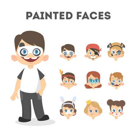 Conjunto de retratos de niños felices con caras pintadas.