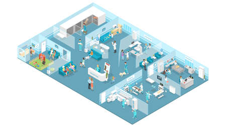 Veterinary clinic interior with reception, waiting hall, examination and operating rooms. Animal treatment. Doctors and sick pets. Isolated isometric vector illustration Vettoriali