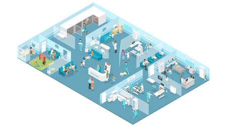 Wnętrze kliniki weterynaryjnej z recepcją, poczekalnią, salami badań i operacji. Leczenie zwierząt. Lekarze i chore zwierzęta. Izolowana ilustracja wektorowa izometryczny