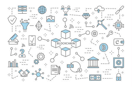 Blockchain concept. Modern digital technology. Safe financial transactions. Cryptocurrency and bitcoin. Set of blockchain and banking icons. Isolated line vector illustration