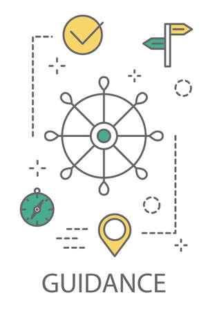 Illustration de concept de guidage Vecteurs