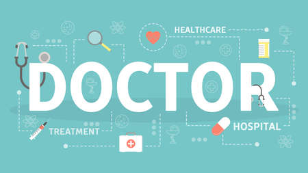 Doctor concept. Idea of medicine and healthcare. Medical staff. Set of health and medical icons. Flat vector illustration