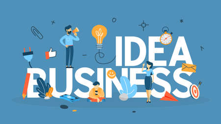 Business idea concept.. Light bulb as a metaphor of idea. Brainstorm in teamwork. Creative mind. Flat vector illustration Иллюстрация