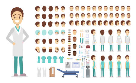 Handsome doctor character set for animation with various views, hairstyles, emotions, poses and gestures. Medical equipment such as syringe and stethoscope. Isolated vector illustration Illustration