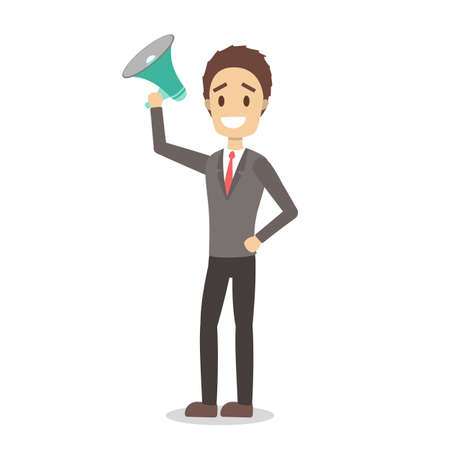 Male promoter in business clothes standing with megaphone. Shouting through the loudspeaker. Isolated vector illustration in cartoon style