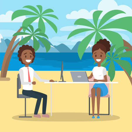 Business team work on the beach. Idea of freelance. Working remotely on the laptop computer through the internet. Working while travelling. Vector flat illustration 矢量图像