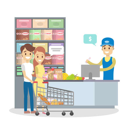 People in the grocery store stand at the cashier and pay for the food using credit card. Smiling salesman at the counter. Isolated flat vector illustration