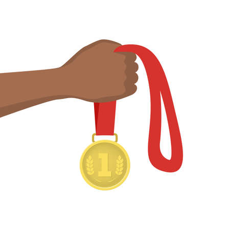Hand holding a golden medal. Champion award, prize for winner. Idea of victory and success. Isolated flat vector illustration