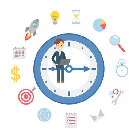 Time management concept. Young handsome businessman planning his day. Making a schedule to improve productivity. Flat vector illustration Illustration