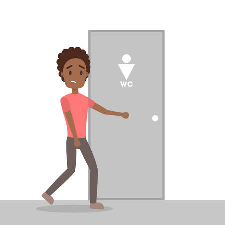 Stressed man wants to pee. Guy with a full bladder standing at the closed WC door. Flat vector illustration
