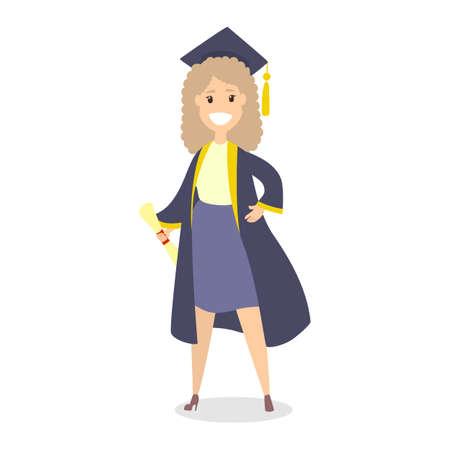 Niña feliz el día de la graduación