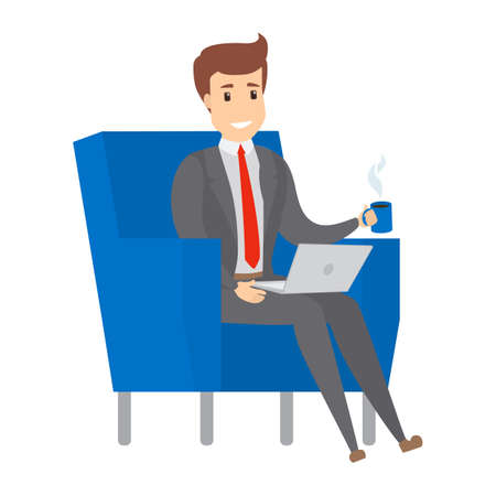 Young businessman or office worker sitting on the armchair with a cup of coffee and working on the laptop computer. Isolated flat vector illustration