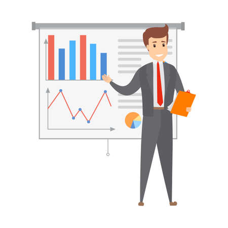 Handsome smart businessman standing at the white board making presentation and explaining graphs to the group of people. Isolated flat vector illustration